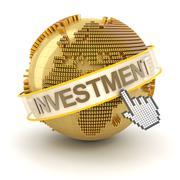 Global investment concept, Europe region, 3d render - stock illustration