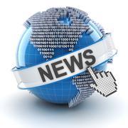 Technology news symbol with digital globe, 3d render Stock Illustration