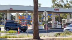 CASULA, NSW, AUSTRALIA - Costco offers discounted petrol in Casu Stock Footage