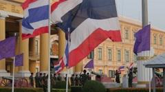 Flag lowering ceremony,detail,Bangkok,Thailand Stock Footage