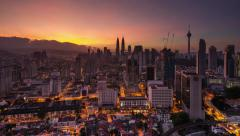 Sunrise Time-lapse of Kuala Lumpur City Centre. Petronas Towers Stock Footage