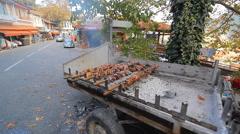 Rotating spit roast Stock Footage