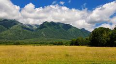 Pasture at the foot of the mountains of Siberia Stock Photos