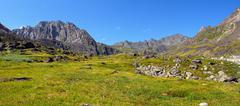 Mountain tundra at noon in July Stock Photos