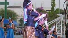 2 Students do shadow boxing show park,Ubon Ratchathani,Thailand Stock Footage