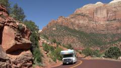 Zion National Park Utah RV bus tourism 4K Stock Footage