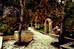 Stock Illustration of Rural Greek Church Entrance - Painting effect