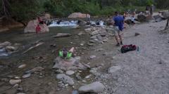 Zions National Park river tilt to cliffs 4K Stock Footage