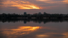 Sunset over river.4K (4096x2304)   Time lapse without birds, RAW output Stock Footage