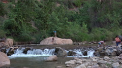 Zion National Park tourism river fun 4K Stock Footage