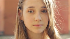 Sad Young Girl Looking With Serious Face At Camera HD - stock footage