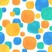 Vector Watercolor Seamless Pattern With Blue and Orange Blobs - stock illustration
