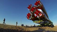 Russia's Soyuz-FG booster rocket with the space capsule Soyuz TMA-16M Stock Footage