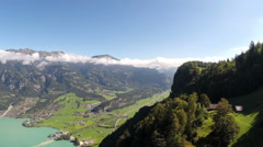 "Aerial view of lake ""Brienz"", Bernese Oberland, Switzerland Stock Footage"