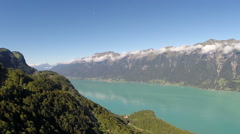 "Aerial view of lake ""Brienz"", Bernese Oberland, Switzerland - stock footage"