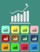 Graph icon with color variations, vector Stock Illustration