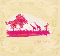 grunge background with giraffe silhouette on abstract African fauna and flora - stock illustration