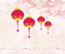 Stock Illustration of Chinese New Year with lanterns card
