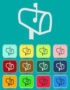 Mailbox with letters icon - color variations - stock illustration