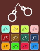 Handcuffs - Vector icon with color variations Stock Illustration