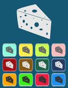 Cheese Icon with color variations, vector Stock Illustration