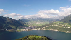 """Aerial view of lake """"Lucerne"""", Switzerland Stock Footage"""
