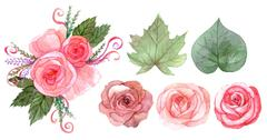Set of red pink flowers and leaves Stock Illustration