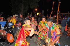 Dancers in traditional clothes, Yogyakarta city festival parade Stock Photos