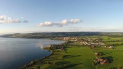 "Aerial view of lake ""Sempach"", Central Switzerland Stock Footage"