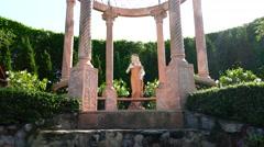 Park. Skulptura. The Girl. Gazebo.  Nature. Eco. Stock Footage