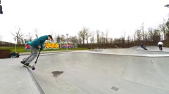 Slowmotion from the skater park Stock Footage