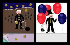 Lucky sweep celebration card (jpg) - stock illustration
