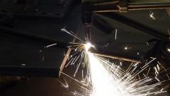 Industrial worker cutting steel by using metal torch, 60 fps. Stock Footage