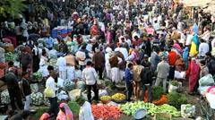 Rajasthan Udaipur India Asia market vegetables male Stock Footage