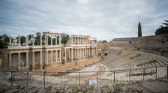 Time Lapse of Merida Roman Theatre, cloudy sky Stock Footage