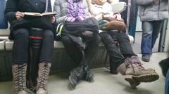 Passengers enter metro car during rush hour, municipal transport, HD version Stock Footage