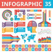 Infographic elements 35. Set of vector design elements in flat style. - stock illustration