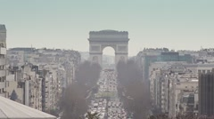 Arc de Triomphe de l'Etoile zoom out La Defense - 60fps Stock Footage