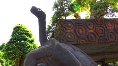 Park. Sculpture. Turtle.  Nature. Eco. - stock footage