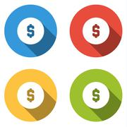 Collection of 4 isolated flat colorful buttons for dollar coin Stock Illustration