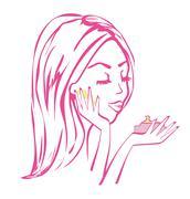beautiful girl applying cream - stock illustration
