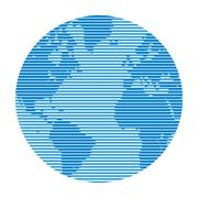 Globe made up of horizontal lines of varying thickness. Stock Illustration