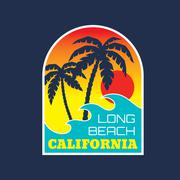 California Long Beach - vector illustration concept. - stock illustration