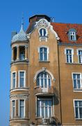 Turret and facade Art Nouveau building - stock photo