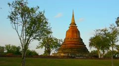 Lone Spire of Ancient Temple Ruin in Sukhothai, Thailand Stock Footage