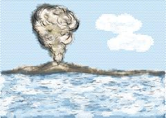Volcanic mountain with sea Stock Illustration