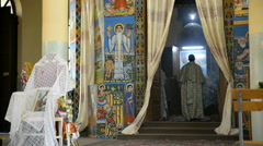 Pilgrims in the church, Mekelle, Ethiopia Stock Footage