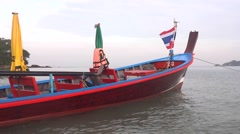 Thai boat with Thai flag  Stock Footage