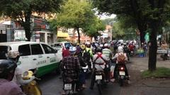 Evening traffic in Saigon Stock Footage