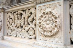 Architectural railing detail from Sambata de Sus Monastery in Transylvania - stock photo